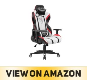 Homall Gaming Racing Office High Back PU Leather Computer Desk Executive and Ergonomic Swivel Chair with Headrest, Black Red