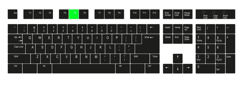 "F5"" key Command + R on Mac"